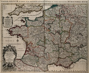 1749 Map of France By Claude Buffier (andrea marchisio) [Public domain], via Wikimedia Commons