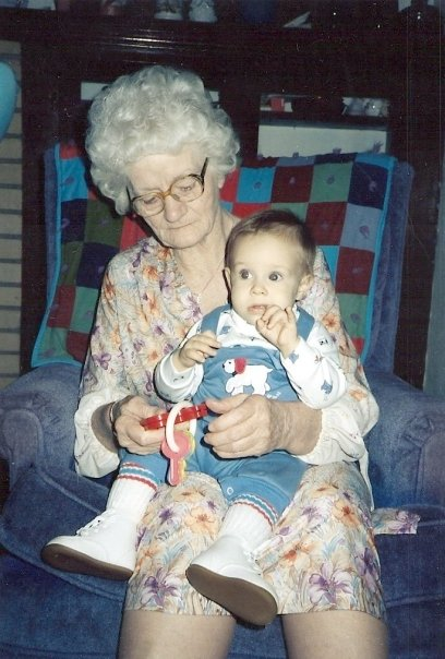My son with his great-grandmother, circa late 1986.