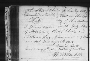 Marriage Certificate for Hugh Clark and Letitia Kerr.