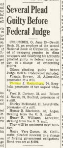 """Several Plead Guilty Before Federal Judge."" Elyria Chronicle Telegram 13 June 1939: 1. Web. 11 Mar. 2015."