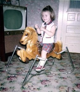 At Grandma and Grandpa's house. Note my invisible reins.
