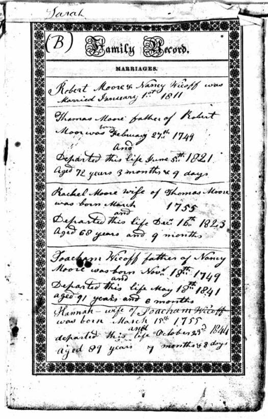 Page from family Bible.