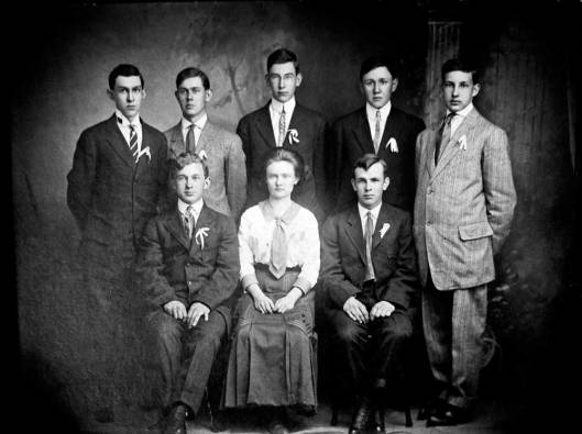 1st Graduating Class Bergholz high School, 1911. Mary, front and center.