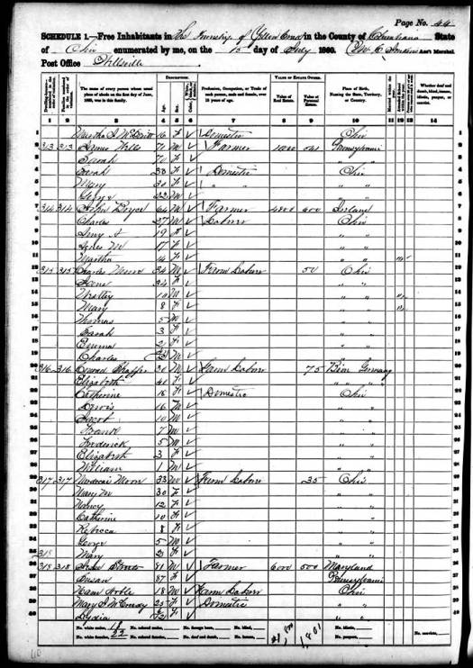 1860 Census Yellow Creek Twp.