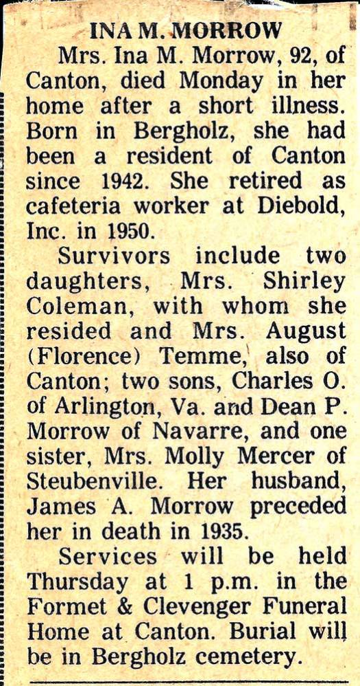 Ina M. Morrow Obituary