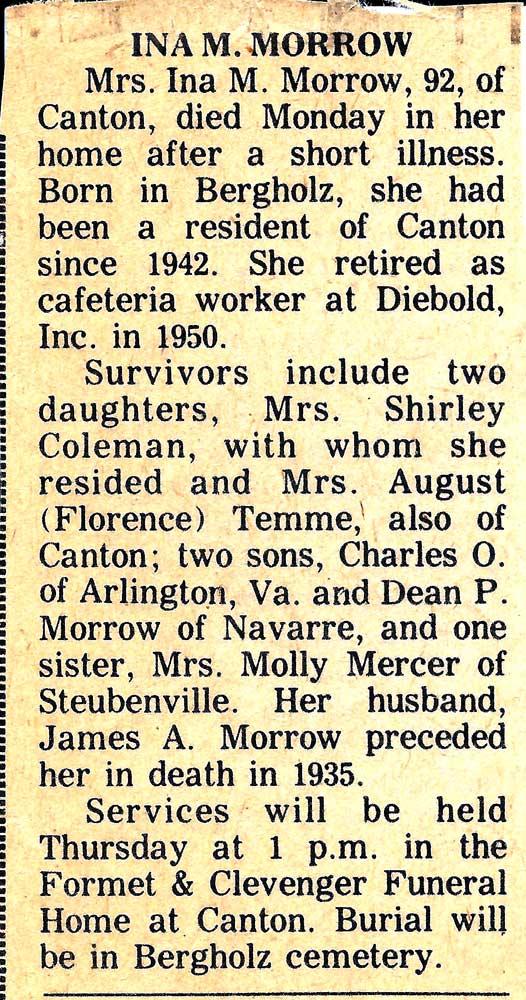 Ina M. Morrow Obituary
