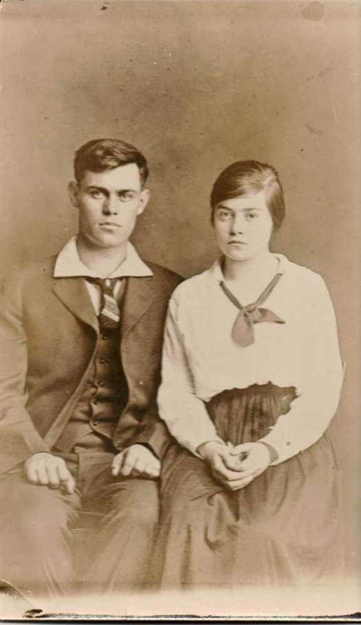 "Jennie Marie with brother, Clarence ""Shorty""."