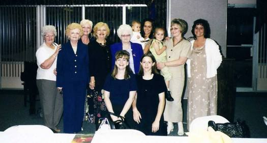 A few of us with Grandma at the Mother / Daughter Banquet at her church. Daughters, granddaughters, great-granddaughters, and a great-great granddaughter.