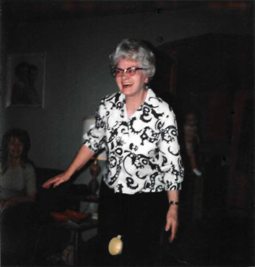 Grandma playing party games at a shower in 1973.