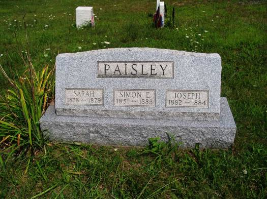 Simon E. Paisley ~ West Grove Cemetery ( Photo courtesy of Dorrie Russell Sacksteder)