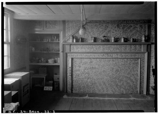 Historic American Buildings Survey, E.P. MacFarland, Photographer May 8, 1934, DETAIL OF MANTEL AND CHINA CLOSET (WEST WALL-DINING ROOM). - Peter Wyckoff House, 5902 Canarsie Lane, Brooklyn, Kings County, NY
