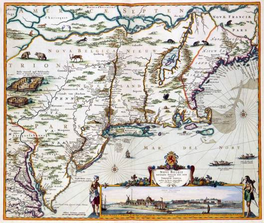 By Nicolaas Visscher II (1649-1702) [Public domain or Public domain], via Wikimedia Commons Nederlands: Vervaardigd in ca. 1684. This map of the current New England was published by Nicolaes Visscher II (1649-1702). Visscher copied first a map byJan Janssonius (1588-1664) from 1651 and added a view of New Amsterdam, the current Manhattan. The map is very accurate: each European town which existed at the time has been represented.