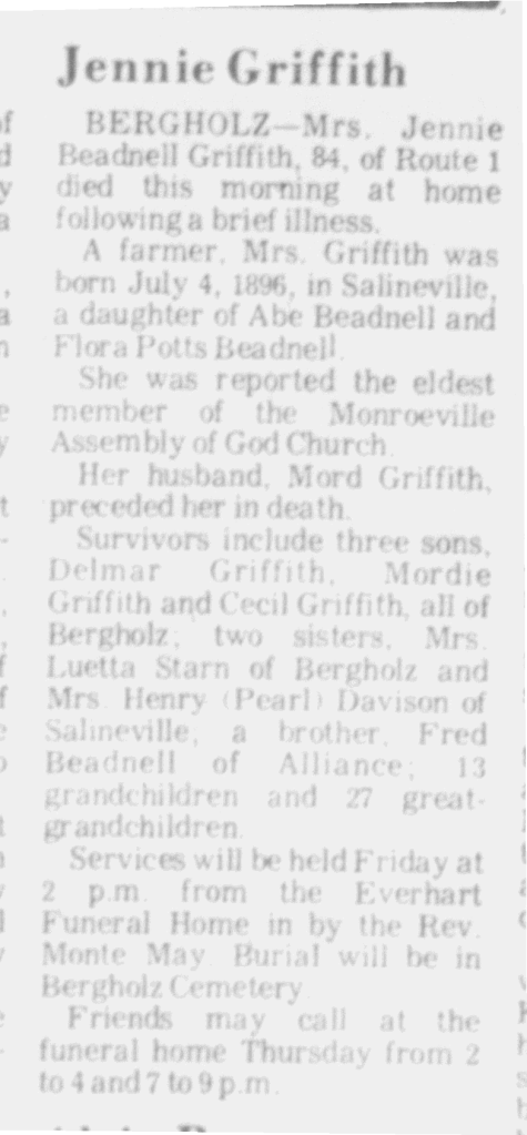 Jennie Beadnell Griffith Obit