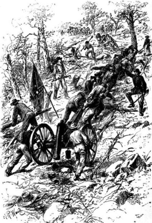 ConfederateTroupsDraggingGunsUpKennesawMountain